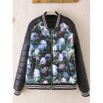 Striped Hem Floral Print Plus Size Quilted Bomber Jacket