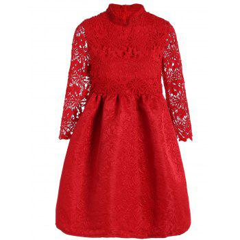 Cutwork Jacquard A Line Lace Dress