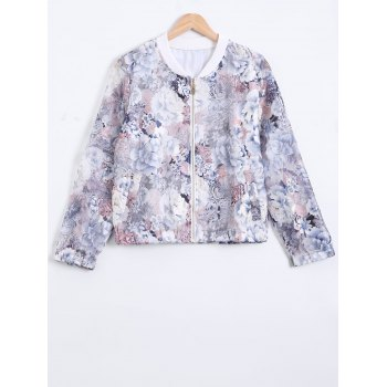 3/4 Sleeves Floral Pattern Mesh Jacket