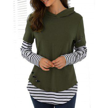 Striped Ripped Hoodie