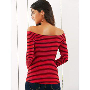 Off The T-shirt rayé épaule - Rouge M