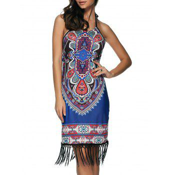 Printed Fringed Sheath Dress