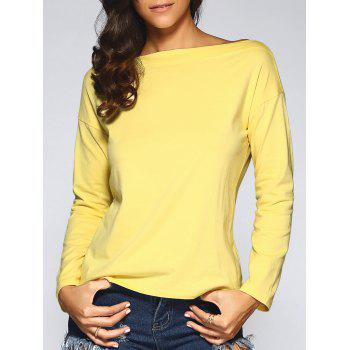 Concise Skew Collar Loose-Fitting T-Shirt