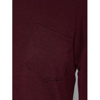 Concise Pocket Collier Skew Haut Bas T-shirt - Rouge Foncé XL
