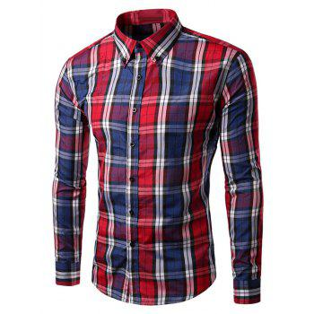 Long Sleeve Slim Fit Button-Down Checked Shirt