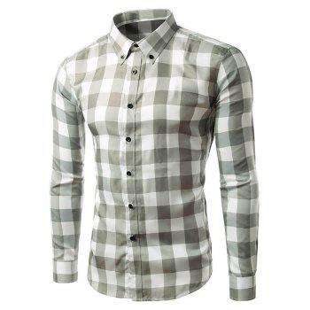 Long Sleeve Slim Fit Grid Button-Down Shirt