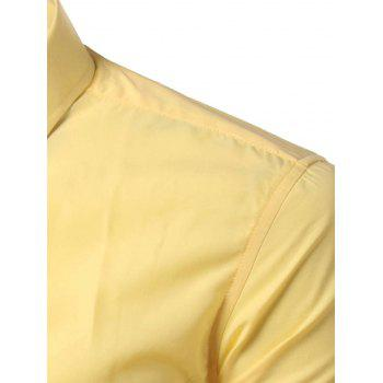 Long Sleeves Candy Color Turn-down Collar Shirt - YELLOW XL