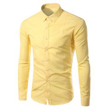Long Sleeves Candy Color Turn-down Collar Shirt - YELLOW YELLOW