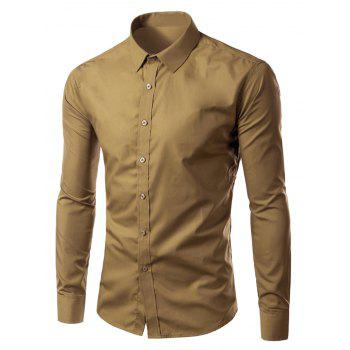 Long Sleeves Candy Color Turn-down Collar Shirt - KHAKI KHAKI