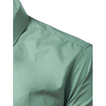 Long Sleeves Candy Color Turn-down Collar Shirt - SAGE GREEN XL