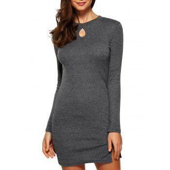Keyhole Fitted Mini Sweater Dress