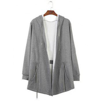 Long Sleeve Drawstring Waist Hooded Longline Coat