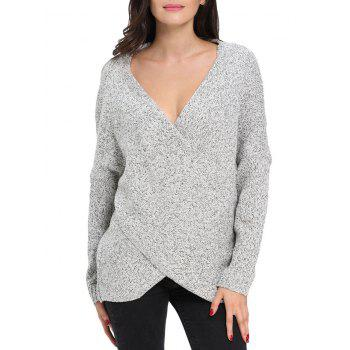 Chunky Cross Wrap Plunging Neck Pullover Sweater