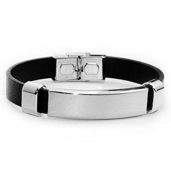 Faux Leather Stainless Steel Charm Bracelet