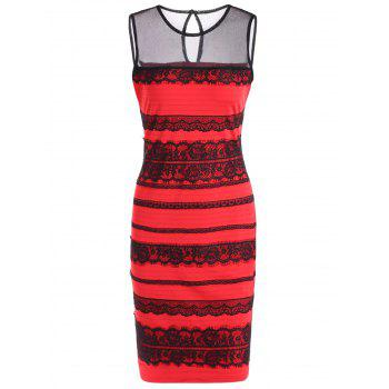 Sleeveless Lace Cut Out Bodycon Dress