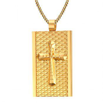 Rhombus Embellished Rectangle Cross Necklace