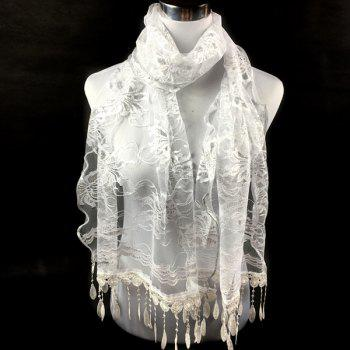Flower Dentelle Feather Fringe Lace Scarf