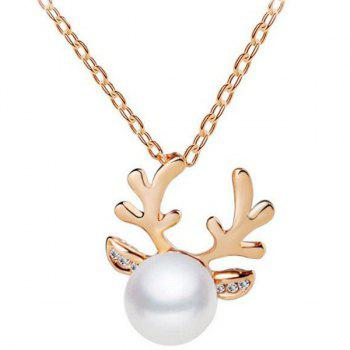 Faux Pearl Antlers Necklace