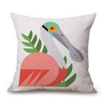 Artistic Cartoon Bird Design Sofa Flax Pillow Case
