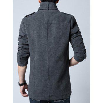 Stand Collar Single-Breasted Epaulet Embellished Woolen Coat - GRAY L