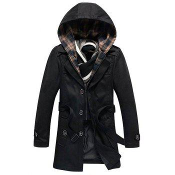 Single-Breasted Detachable Hooded Epaulet and Belt Embellished Coat