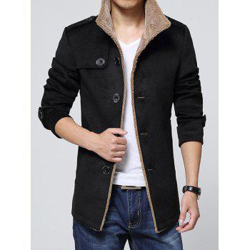 Turn-Down Collar Single-Breasted Epaulet Embellished Fleece Coat