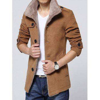 Turn-Down Collar Single-Breasted Epaulet Embellished Fleece Coat - CAMEL M