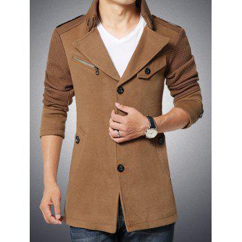 Stand Collar Single-Breasted Knited Spliced Epaulet Embellished Woolen Coat