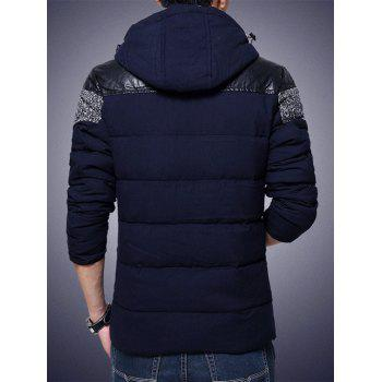 Hooded PU-Leather Splicing Plus Size Zip-Up Cotton-Padded Jacket - CADETBLUE XL