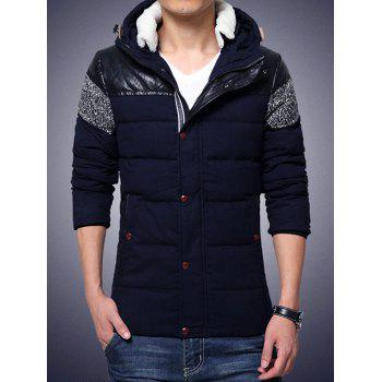 Hooded PU-Leather Splicing Plus Size Zip-Up Cotton-Padded Jacket