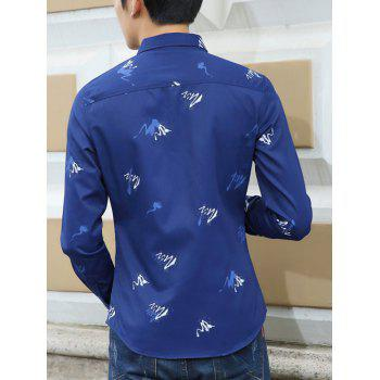 Splatter Paint Pattern Long Sleeve Shirt - SAPPHIRE BLUE SAPPHIRE BLUE