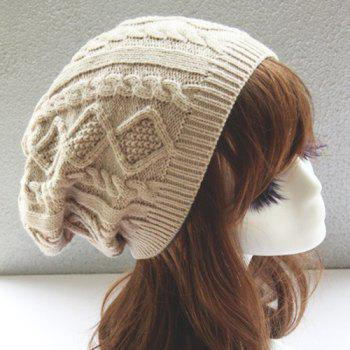 Winter Hemp Flowers Rhombus Knitted Slouchy Beanie