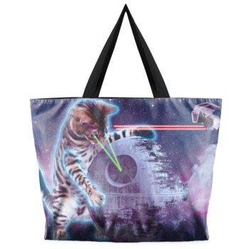 Color Block Canvas Cat Print Shoulder Bag