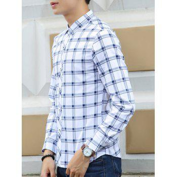 Turn-Down Collar Long Sleeves Checked Pattern Shirt - BLUE M