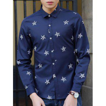 Turn-Down Collar Long Sleeve Stars Pattern Shirt - SAPPHIRE BLUE 2XL
