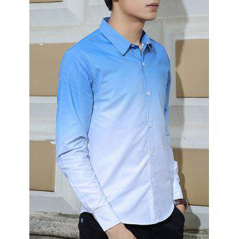 Turn-Down Collar Long Sleeves Ombre Shirt - LIGHT BLUE 3XL