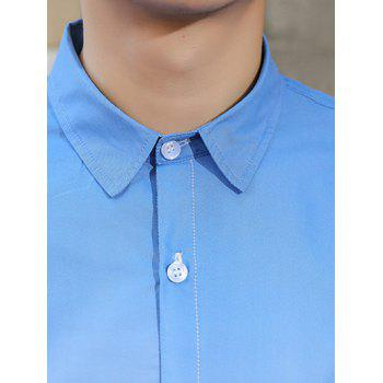 Turn-Down Collar Long Sleeves Ombre Shirt - CADETBLUE CADETBLUE