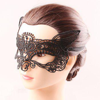 Mystical Half Face Black Lace Hollow Out Carnival Masquerade Masks -  BLACK