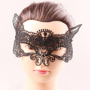 Mystical Half Face Black Lace Hollow Out Carnival Masquerade Masks - BLACK BLACK