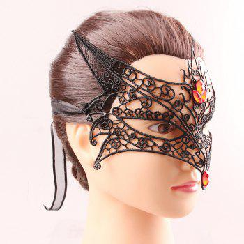 Fox Modélisation Faux Gem Half Visage Cut Out Lace Carnival Masquerade Masques - Noir