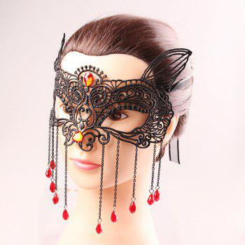 Waterdrop Tassels Cut Out Lace Half Face Masks -  BLACK