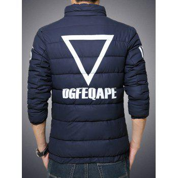 Stand Collar Geometric and Letter Print Plus Size Zip-Up Cotton-Padded Jacket - CADETBLUE 2XL
