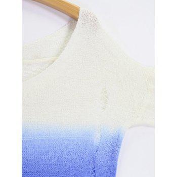 V Neck Sweater High Low Ombre Ripped - Bleu et Blanc ONE SIZE
