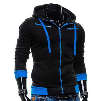 Zippered Color Splicing Drawstring Hoodie