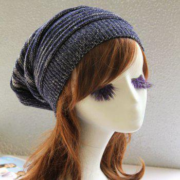 Winter Stripy Color Block Knitted Slouchy Beanie