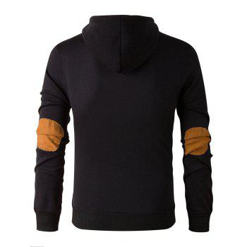 Long Sleeve Elbow Patch Drawstring Pullover Hoodie - BLACK 3XL