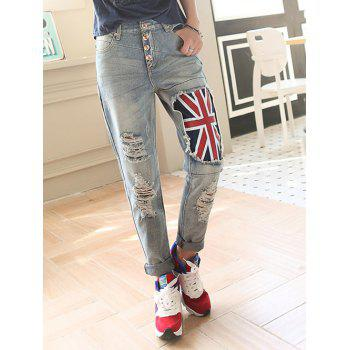 Broken Hole Flag Pattern Jeans