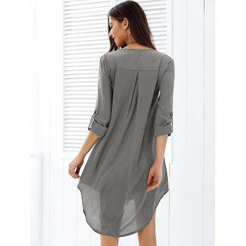 Asymmetrical V Neck Casual Knee Length Going Out Dress - GRAY XL