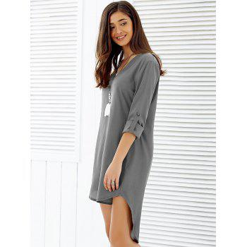 Asymmetrical V Neck Casual Knee Length Going Out Dress - GRAY L