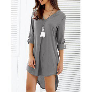 V-Neck Asymmetrical Loose-Fitting Dress